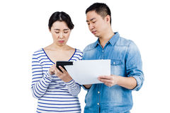 Concentrated couple discussing Royalty Free Stock Photos