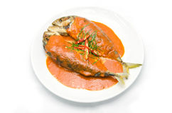 Concentrated curry with mackerel and spices herbs. Thai food stock photography