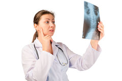Concentrated doctor radiologist Royalty Free Stock Photography