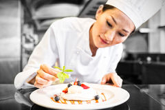 Concentrated female chef garnishing food in kitchen royalty free stock image