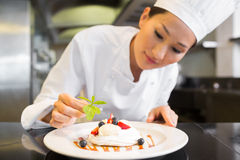 Concentrated female chef garnishing food in kitchen. Closeup of a concentrated female chef garnishing food in the kitchen stock images