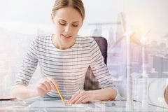 Concentrated female eco engineer Royalty Free Stock Photo