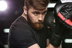 Concentrated handsome young strong sports man boxer. Image of concentrated handsome young strong sports man boxer make exercises in gym with trainer and looking stock image