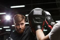 Concentrated handsome young strong sports man boxer. Photo of concentrated handsome young strong sports man boxer make exercises in gym with trainer and looking royalty free stock image