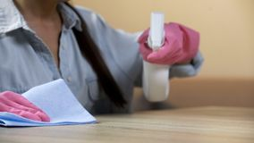Concentrated housewife washing living room table to remove unpleasant odor. Stock photo royalty free stock image