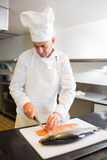 Concentrated male chef cutting fish in kitchen Royalty Free Stock Images