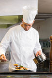 Concentrated male chef garnishing food in kitchen. Portrait of a concentrated male chef garnishing food in the kitchen royalty free stock images