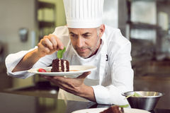 Concentrated male pastry chef decorating dessert in kitchen Stock Image