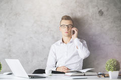 Concentrated man on phone Stock Image