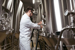 Concentrated man using ladder in brewery. Professional worker. Concentrated young handsome man using ladder while spending time at factory and making beer Royalty Free Stock Photos