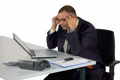 Concentrated mature businessman Stock Images