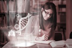 Concentrated mature student studying medicine on digital interfa Royalty Free Stock Image