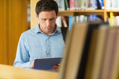 Concentrated mature student using tablet PC in library Royalty Free Stock Photo