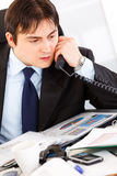 Concentrated modern businessman talking on phone Royalty Free Stock Photo