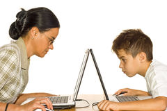 Concentrated on pc work stock image
