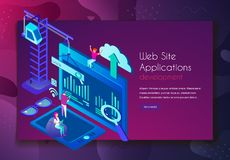 Concentrated people working on improving web site application development. Creativity and interface concept isometric vector illustration. Isolated on white vector illustration
