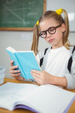 Concentrated pupil reading book at her desk Royalty Free Stock Photography