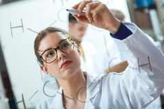 Concentrated scientist making experiment in laboratory. Portrait of concentrated scientist making experiment in laboratory stock photos