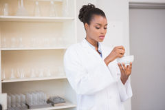 Concentrated scientist using pestle and mortar Stock Photography