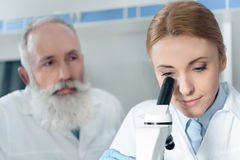 Concentrated scientists in uniform working together with microscope Royalty Free Stock Photography