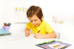 Concentrated small boy write with pencil alone Royalty Free Stock Images
