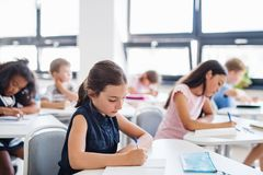 Free Concentrated Small School Children Sitting At The Desk In Classroom, Writing. Royalty Free Stock Images - 164933609