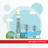 Concentrated solar power station. Colorful illustration in a flat style. City infographics set. All types of power stations. System with Concentrator stock illustration