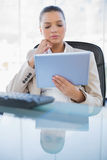 Concentrated sophisticated businesswoman holding tablet computer. Concentrated sophisticated businesswoman in bright office holding tablet computer stock image