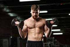 Concentrated sports man make sport exercises with dumbbells Stock Image