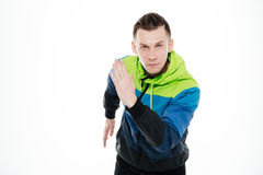 Concentrated strong sportsman running isolated Stock Image