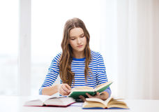 Concentrated student girl with books Stock Image