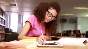 Concentrated student working stock footage