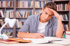 Concentrated on studying. Confident young man making research while sitting in library Stock Images