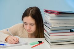 Absorbed female student royalty free stock images