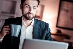 Concentrated unshaken man looking at the screen holding a cup. Serious business. Concentrated unshaken occupied man sitting opposite the computer looking at the Royalty Free Stock Photos