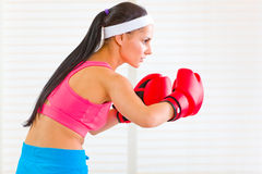 Concentrated woman in boxing gloves working out Stock Photography