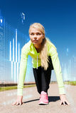 Concentrated woman doing running outdoors Royalty Free Stock Photo