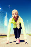 Concentrated woman doing running outdoors Royalty Free Stock Photography