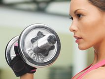 Concentrated woman with dumbbells in gym Stock Photo