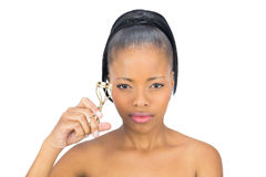 Concentrated woman using eyelash curler Stock Image