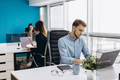 Concentrated on work. Concentrated young beard man working on laptop while sitting at his working place in office royalty free stock photography