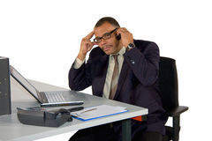 Concentrated working businessman Stock Photography