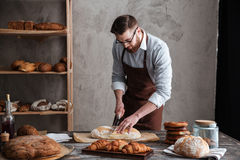Concentrated young man baker cut the bread. Photo of concentrated young man baker standing at bakery cut the bread. Looking aside Royalty Free Stock Images