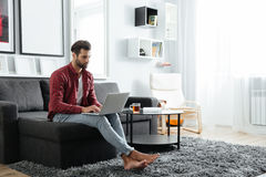 Concentrated young man sitting on sofa using laptop computer. Picture of concentrated young man sitting on sofa indoors at home while using laptop computer royalty free stock photos