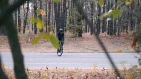 Concentrated young professional athlete in cycling apparel, helmet and sports sunglasses standing in track on road bike in autumn. Park. Handsome triathlete stock video footage