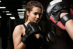 Concentrated young strong sports lady boxer with man trainer Stock Photos