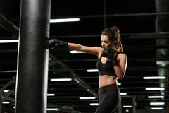 Concentrated young strong sports lady boxer. Picture of concentrated young strong sports lady boxer make boxing exercises in gym and looking aside royalty free stock image