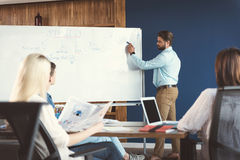 Concentrated youthful bearded guy and co-workers training at work stock photography