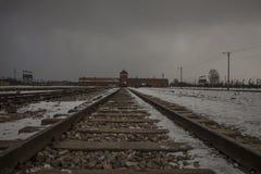 Concentratiekamp auschwitz-Birkenau in Oswiecim, Polen stock afbeelding