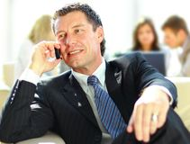 Concentrating businessman on call Stock Photos